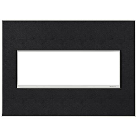 adorne® 3-Gang Black Leather Wall Plate