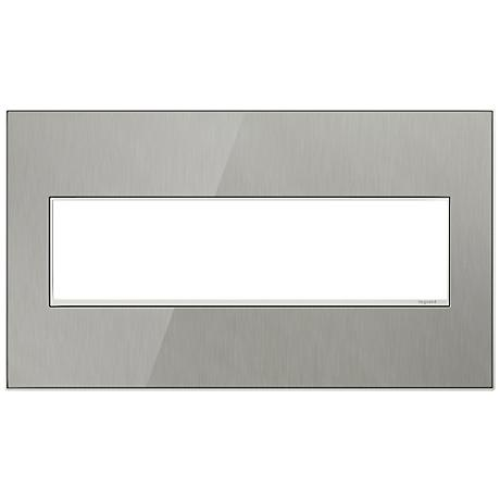 Adorne 4-Gang Brushed Steel Wall Plate