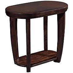 Klaussner Hayden Walnut Oval Chairside Table