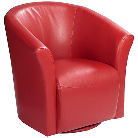 Breton Rivera Red Swivel Accent Chair