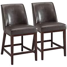 "Valor Espresso Faux Leather 26"" Counter Chair Set of 2"