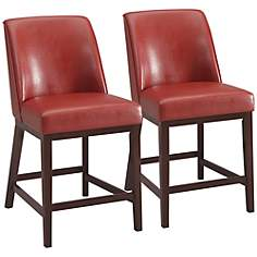 "Valor Red Faux Leather 26"" Counter Chair Set of 2"