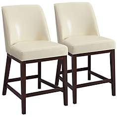 "Valor Ivory Faux Leather 26"" Counter Chair Set of 2"