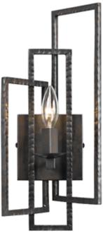 "Crystorama Capri 15 3/4""H Raw Steel 1-Light Wall Sconce (7T147) 7T147"