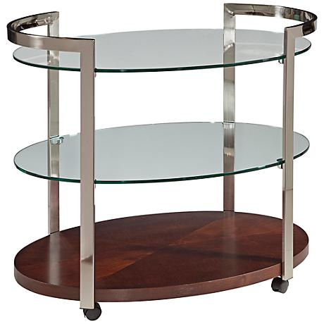 Gordon Rolling 3-Shelf Glass Tea or Bar Cart