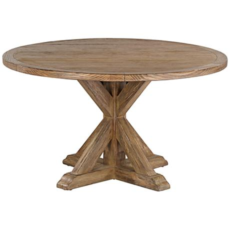 Simone 54 Round Reclaimed Wood Top Dining Table