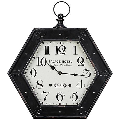 "Cooper Classics Belmont Black 22 3/4"" High Wall Clock"