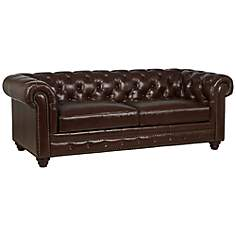 Shea Double Fudge Top-Grain Leather Sofa