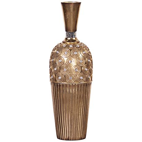 Howard Elliott Gold Gem Studded Tall Vase