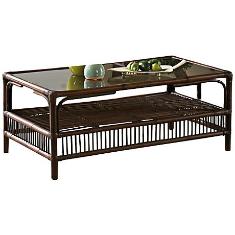 Panama Jack Bora Bora Glass-Top Rattan Coffee Table