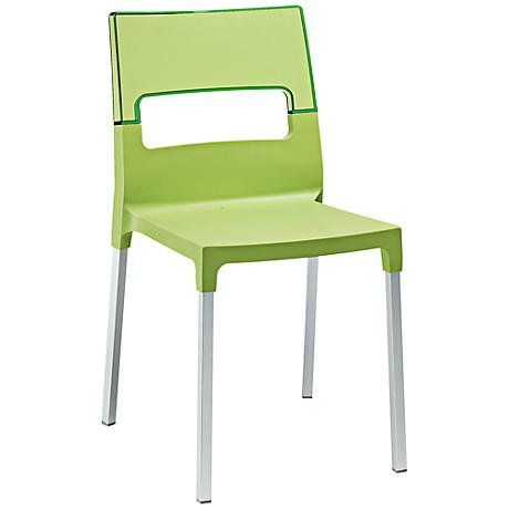 Diva Molded Lime Green Outdoor Side Chair