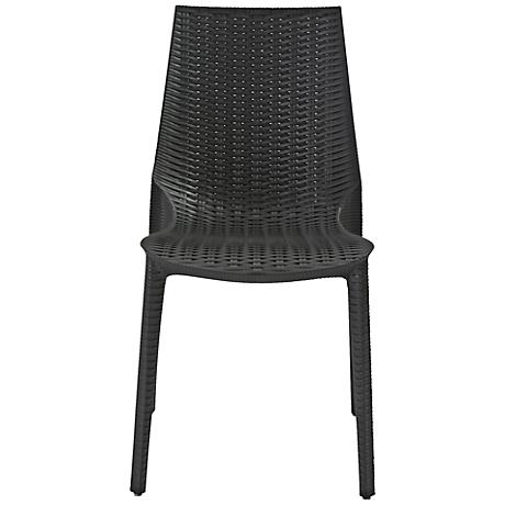 Lucrezia Molded Woven Anthracite Outdoor Side Chair