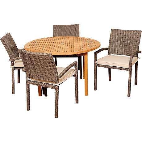 Barry Gray Wicker 5-Piece Round Patio Dining Set