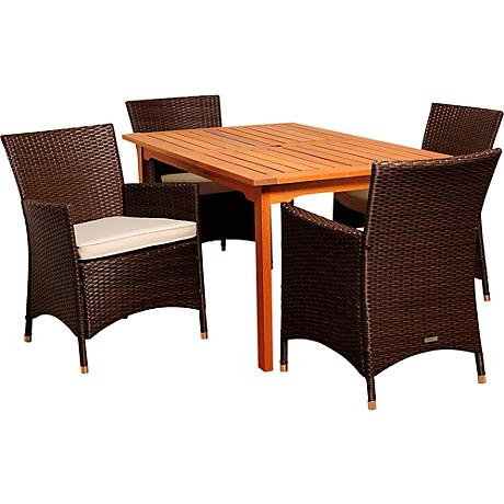 Myron Brown Wicker 5-Piece Rectangular Patio Dining Set