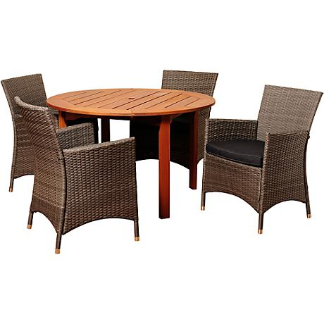 Neville Gray Wicker 5-Piece Round Patio Dining Set