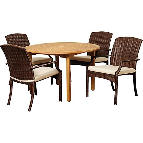 Vincenzo Wicker 5-Piece Round Patio Dining Set
