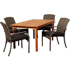 Via Segundo Gray Wicker 5-Piece Rectangular Patio Dining Set