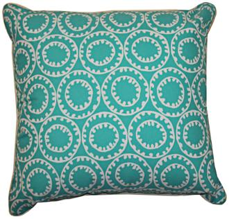 "Dunkin Turquoise Blue 20"" Square Decorative Outdoor Pillow (7V527) 7V527"