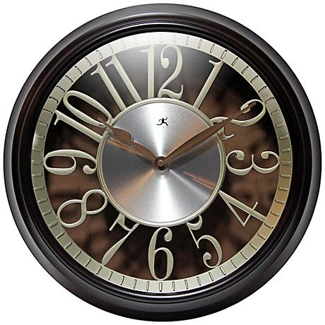 "Leeds Walnut 15"" Round Die-Cut Wall Clock"