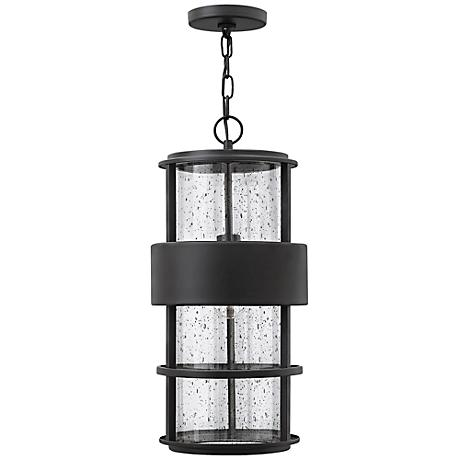 "Hinkley Saturn 10"" Wide Satin Black Outdoor Hanging Light"