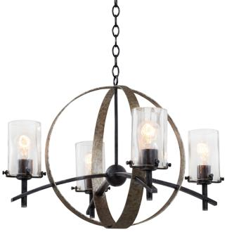 "Irvine Vintage Iron 26 1/2"" Wide 4-Light Chandelier (7V991) 7V991"