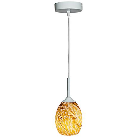 Amber Tan Short Oval White LED Pendant - 12-Foot Cord