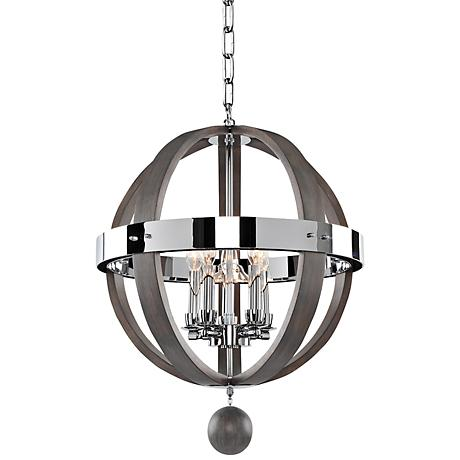 "Sharlow Charcoal and Silverleaf Glass 19""W 5-Light Pendant"