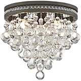 "Regina Olive Bronze 12"" Wide Crystal Ceiling Light"