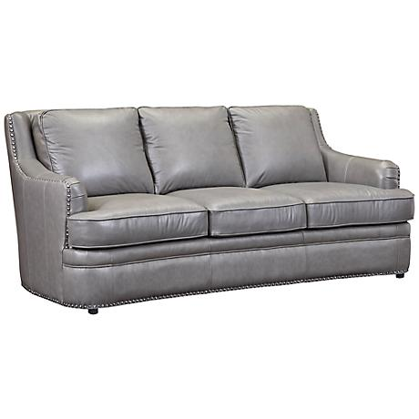 Tulsa Dark Gray Top Grain Leather Sofa