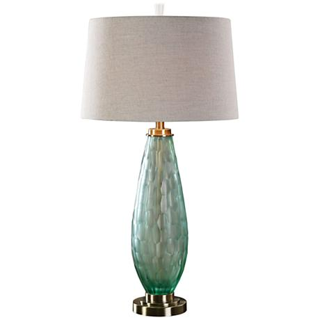 uttermost lenado frosted sea green glass table lamp. Black Bedroom Furniture Sets. Home Design Ideas