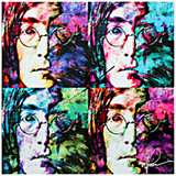 "John Lennon Beatles Pop 22"" Square Metal Wall Art Clock"