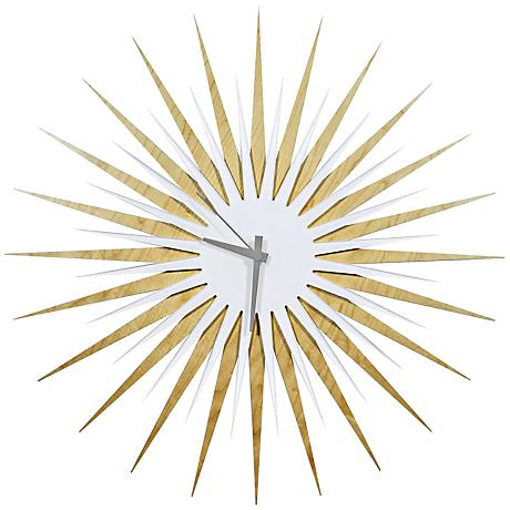 "Maple White and Gray Atomic Starburst 23"" Round Wall Clock"
