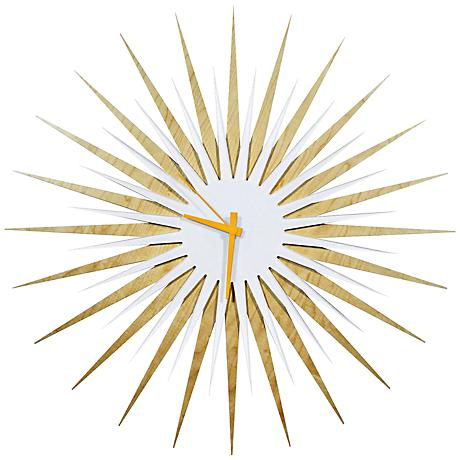 "Maple White and Orange Atomic Starburst 23"" Round Wall Clock"