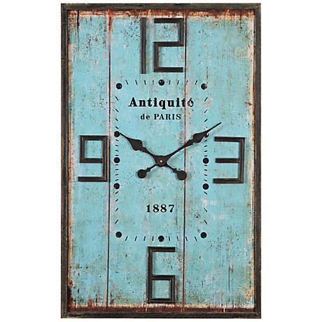 "Antiquite de Paris Aged Blue 36"" High Wood Wall Clock"