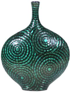"Medium Green Mother of Pearl 15 3/4"" High Lacquer Vase (7X205) 7X205"