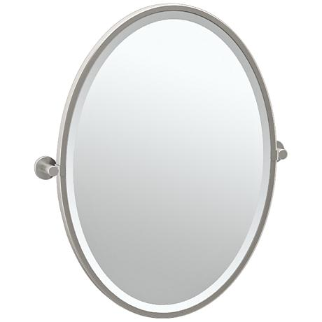 "Gatco Channel Satin Nickel 23 3/4"" x 27 1/2"" Wall Mirror"