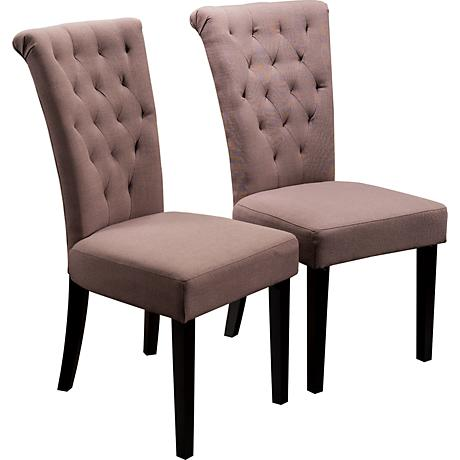Charlotte Mocha Tufted Dining Chair Set of 2