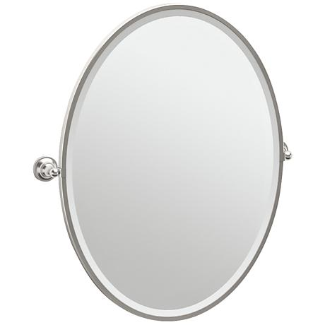 "Gatco Tiara Satin Nickel 28 3/4"" x 33"" Oval Wall Mirror"