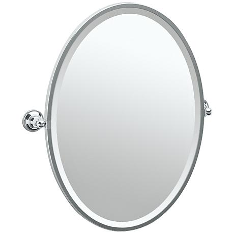 "Gatco Tiara Chrome 24 1/4"" x 27 1/2"" Oval Wall Mirror"