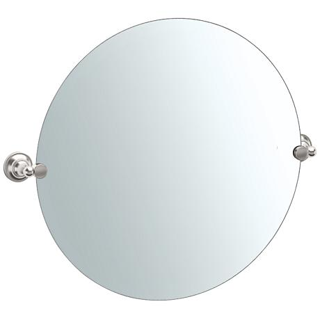 "Gatco Tiara Satin Nickel 30"" x 25"" Round Wall Mirror"