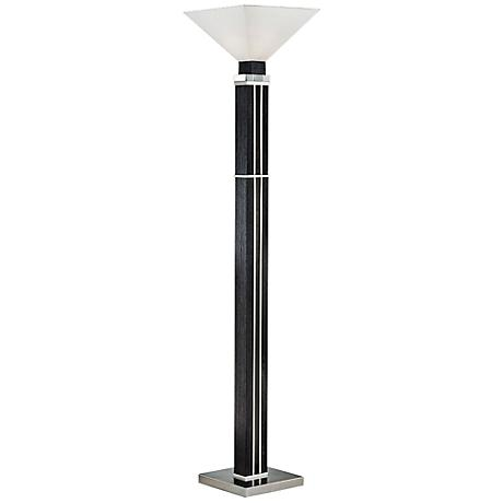 Nova Attitude Zebra Wood Torchiere Floor Lamp