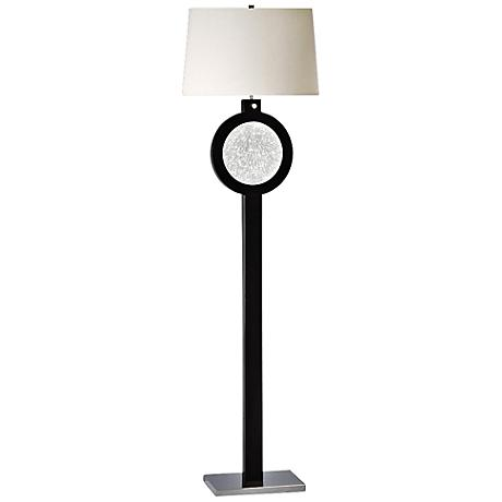 Nova Electra Gloss Black Wood Floor Lamp