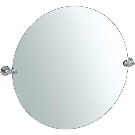 "Gatco Channel Chrome 29 1/2"" x 25"" Round Vanity Mirror"