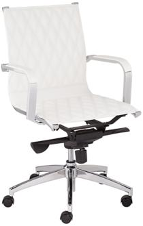 Chanelle White Faux Leather Mid Back Office Chair (7Y401) 7Y401