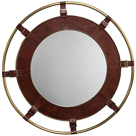 "Jamie Young Portsmouth Tobacco Leather 36"" Round Wall Mirror"