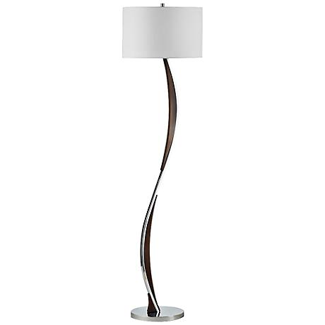 Nova Serpentine Chrome and Pecan Floor Lamp