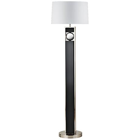 Nova Frame Brushed Nickel and Dark Brown Floor Lamp