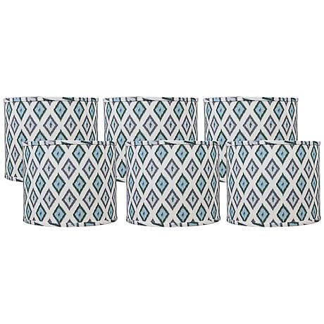 Aqua Gray Diamonte Set of 6 Drum Shades 5x5x4.5 (Clip-On)
