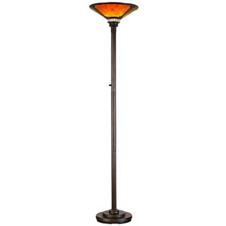 Mica Collection Mission-Style Torchiere Floor Lamp