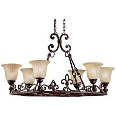 Carre Bronze Oval Island Chandelier